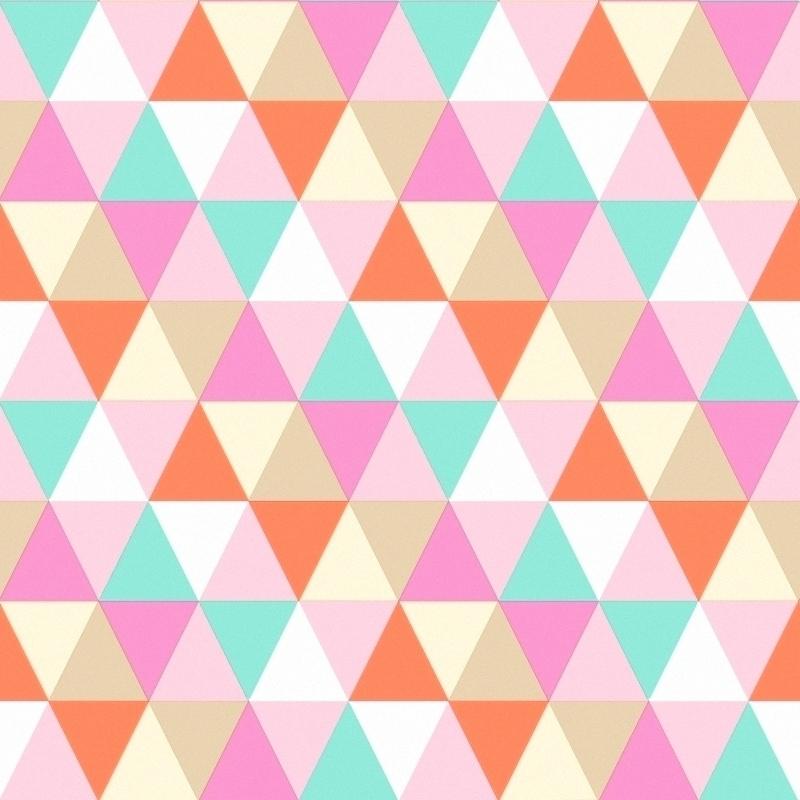 Vliestapete 'Triangle' rosa/türkis