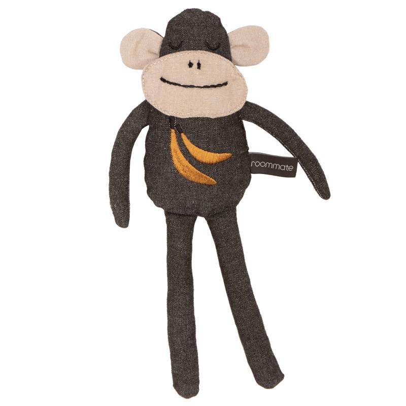 Spielpuppe 'Affe' bestickt dunkelgrau 30cm