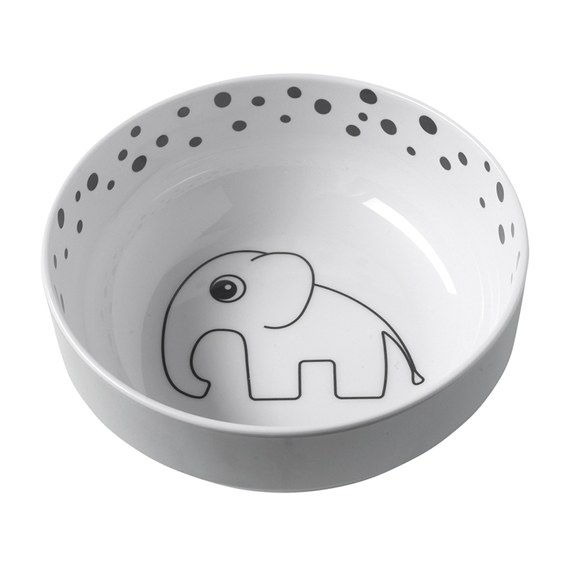 Schüssel 'Happy Dots' Elefant Melamin grau