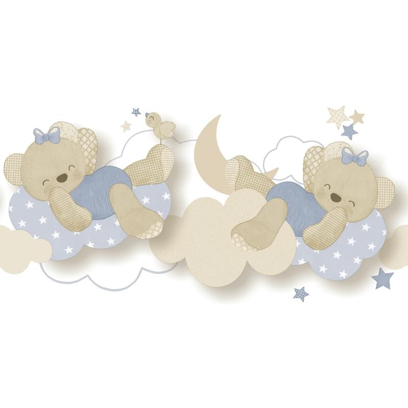 Babybordüre 'Bärchen' beige/blau