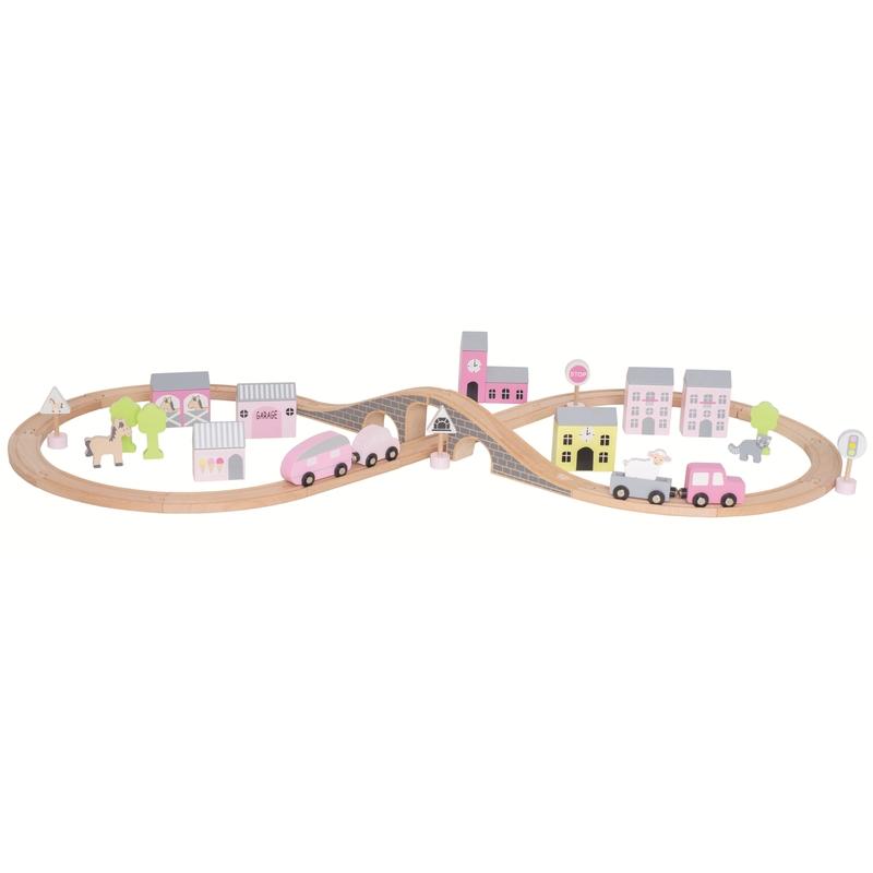 Eisenbahn aus Holz natur/rosa ab 2 Jahren