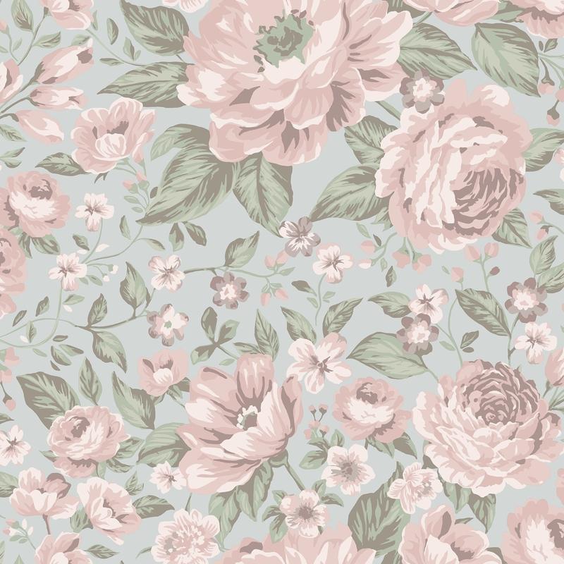 Tapete 'Newbie' Pfingstrosen rosa/grün