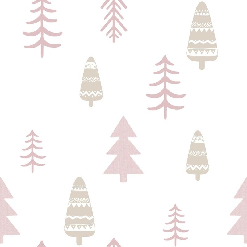 Vliestapete 'Bäume' altrosa/beige