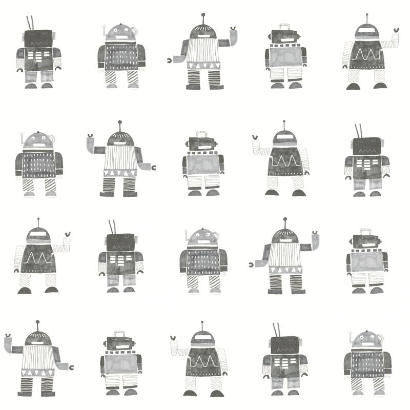 Vliestapete 'Roboter' weiß/grau