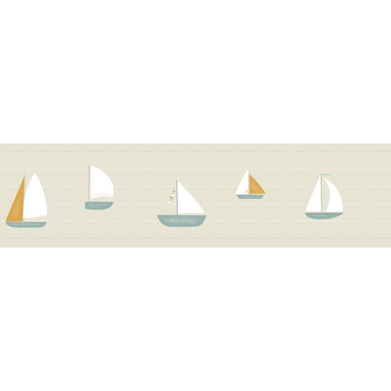Bordüre 'Rose & Nino' Schiffe beige/ocker