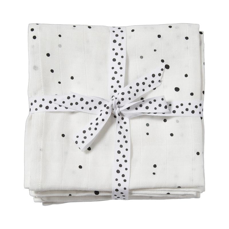 Mulltücher 'Dots' weiß 2er Set 70x70cm