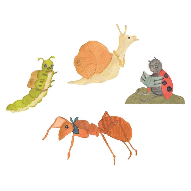 Stoff-Wandsticker 'Käfer Freunde' 4-tlg.