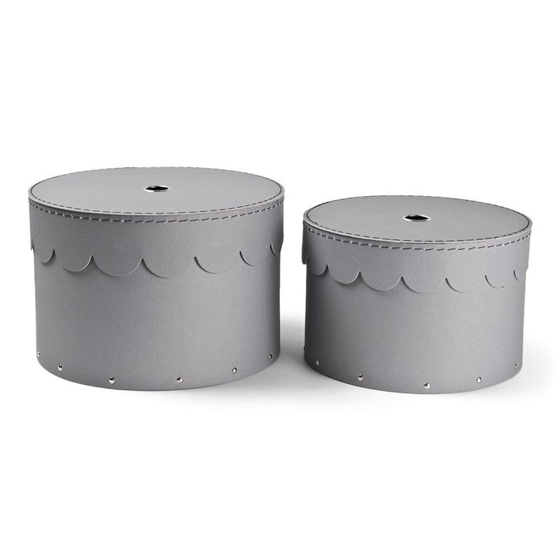 Pappboxen mit Wellenborte grau rund