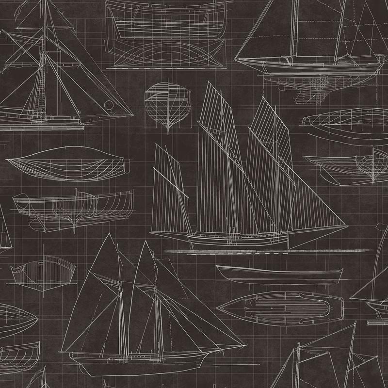 Vliestapete 'Segelschiffe' schwarz