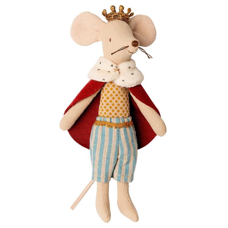 König Maus rot/blau/beige 15cm (Micro)