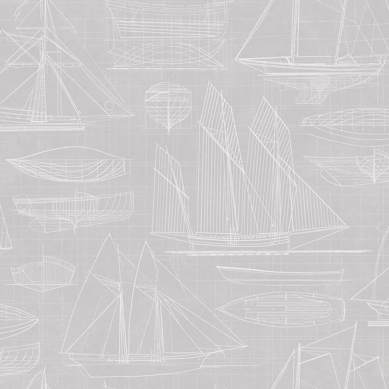 Vliestapete 'Segelschiffe' warmgrau