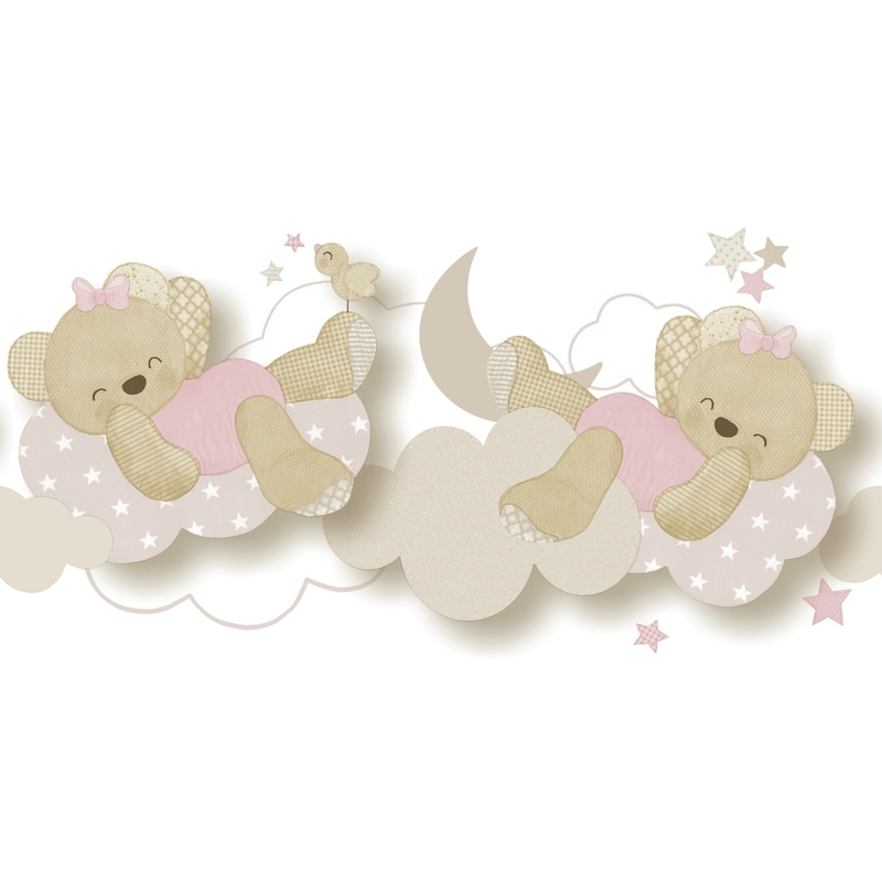 Babybordüre 'Bärchen' beige/rosa