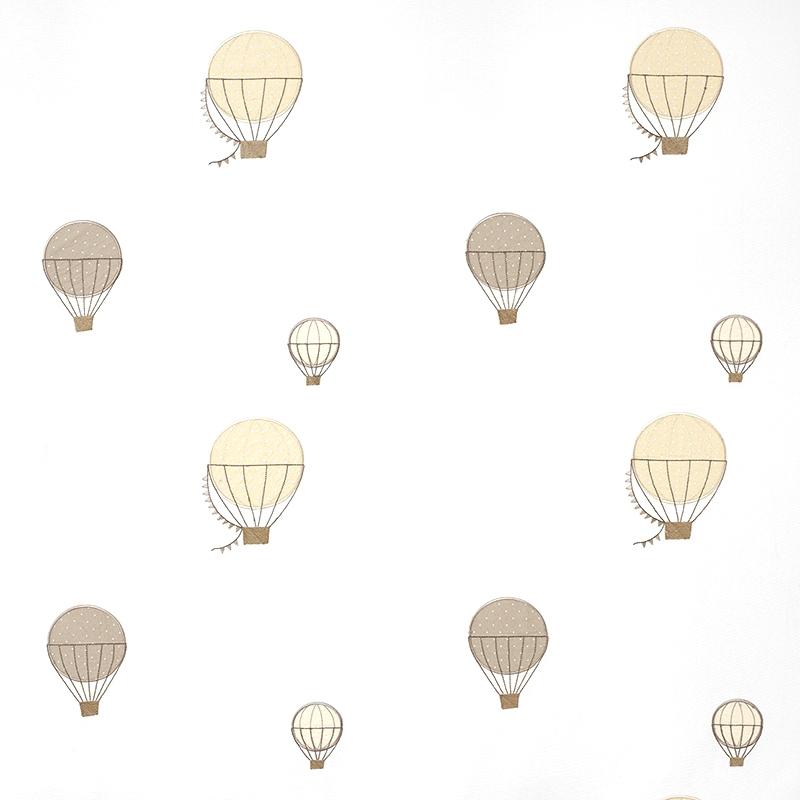 Stoff mit Stickerei 'Heißluftballons' beige