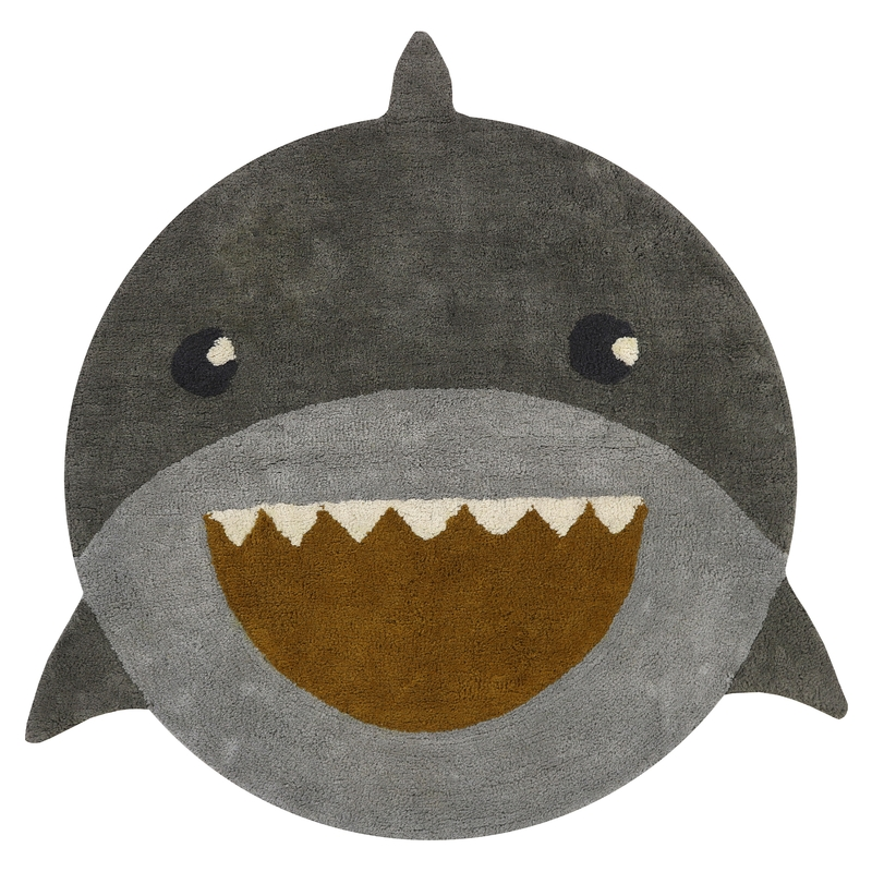 Teppich 'Hai' rund grau/blau ca. 110cm