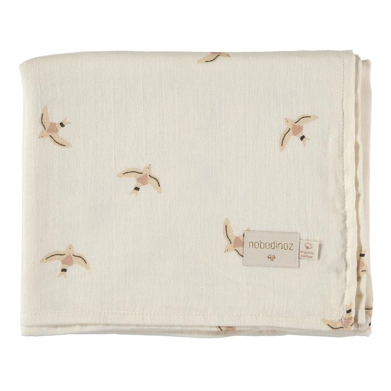 Pucktuch 'Haiku Birds' creme 100x120cm