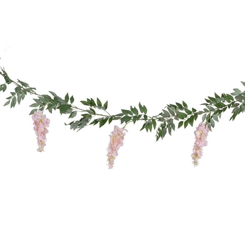 Blättergirlande mit Blumen grün/rosa 180cm