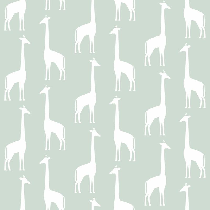 Vliestapete 'Giraffen' mint/weiß