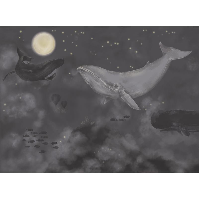 Fototapete 'Wale' dunkelblau 360x265cm