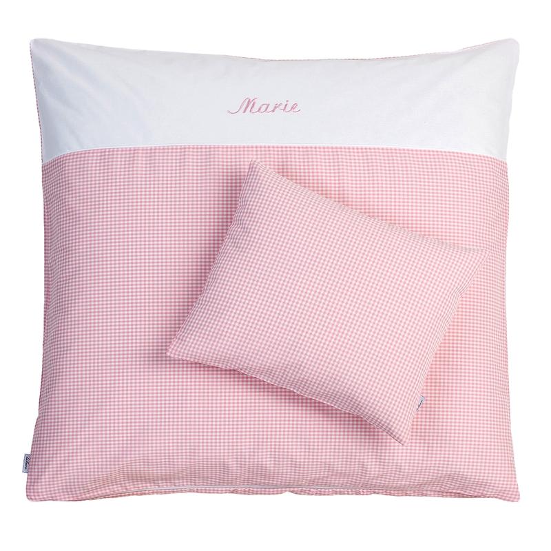 Wiegenwäsche 'Nostalgie' rosa personalisiert