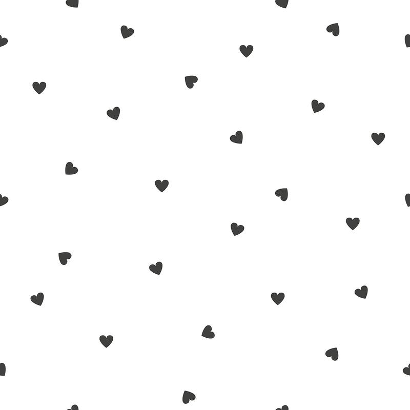 Vliestapete 'Herzen' weiß/schwarz