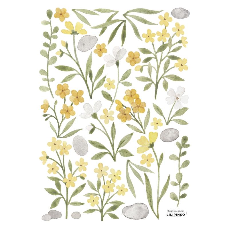Wandsticker 'Lucky Ducky' Blumen gelb