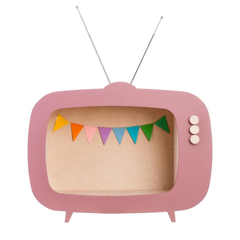 Regal 'Fernseher' altrosa 40cm handmade