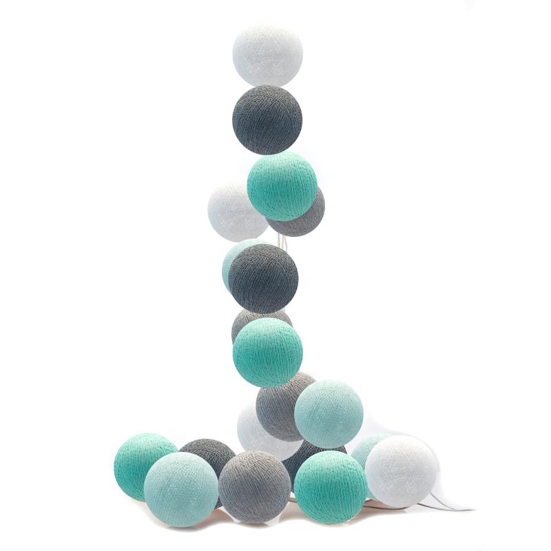 Lichterkette Cotton Balls LED mint/grau