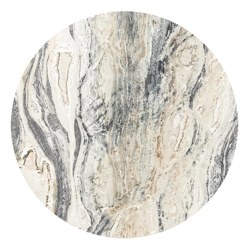 XL-Wandsticker 'Marmor' rund creme/gold