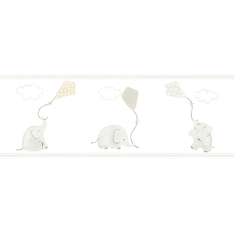 Bordüre 'My Little World' Elefanten beige/grau