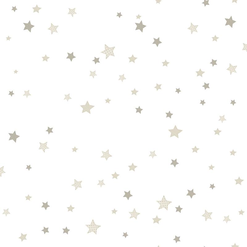 Vliestapete 'Sterne' beige/silbergrau