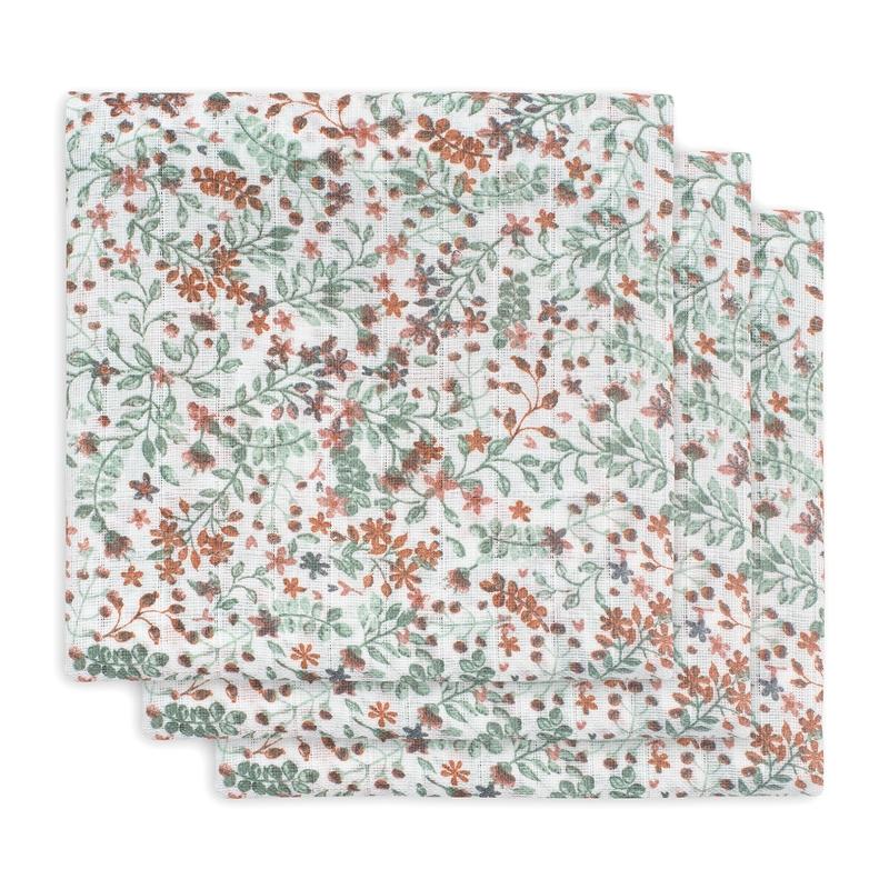 Mulltücher 'Bloom' grün/rost 3er Set 70x70cm