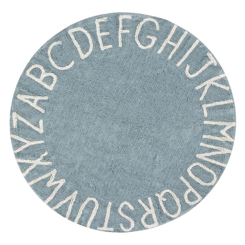 Teppich 'ABC' rund blau 150cm waschbar