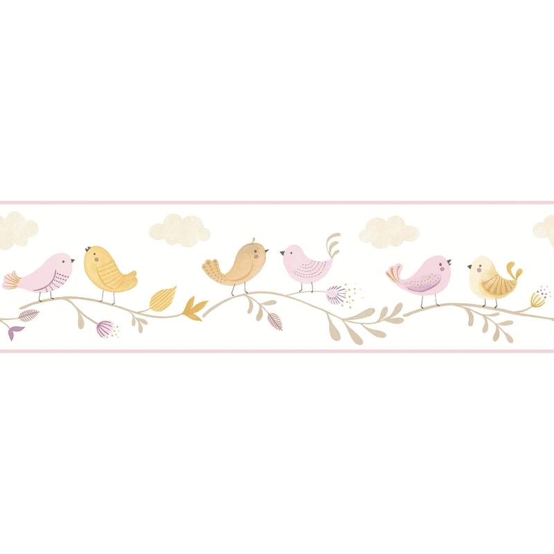 Bordüre 'Rose & Nino' Vögel' lila/senfgelb