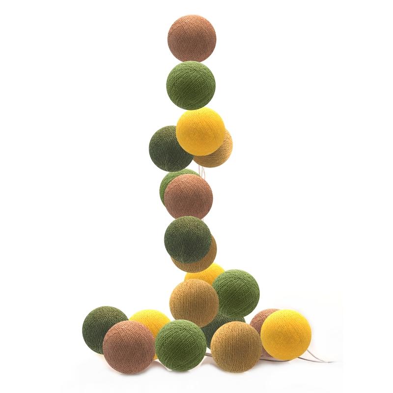 Lichterkette Cotton Balls LED senf/grün/braun