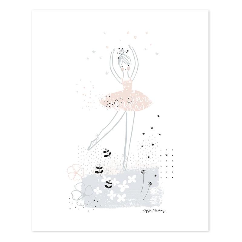 Poster 'Pirouette' rosa/grau 40x50cm