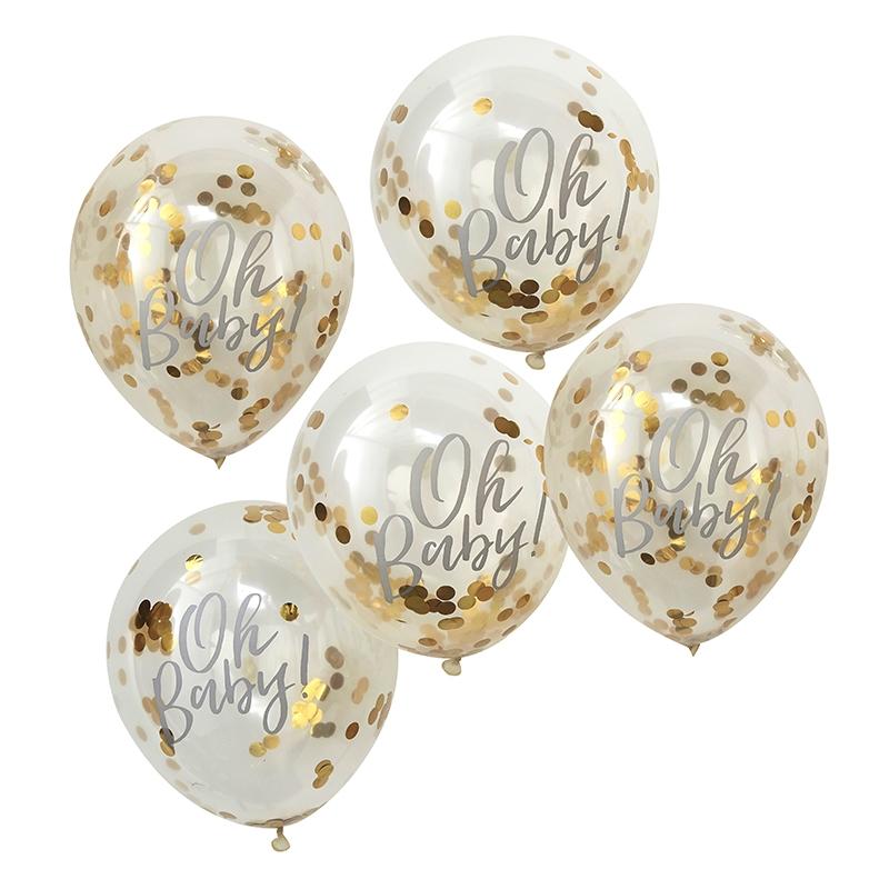 Konfetti-Luftballons 'Oh Baby' gold 5er Set
