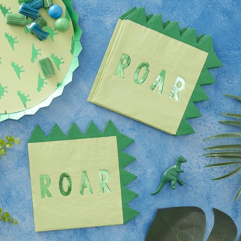 Servietten 'Roarsome' Dino grün 16 St.