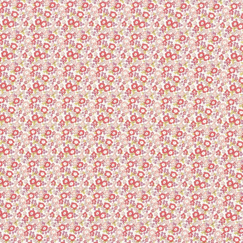 Stoff 'Rose & Nino' Blumen rosa/koralle