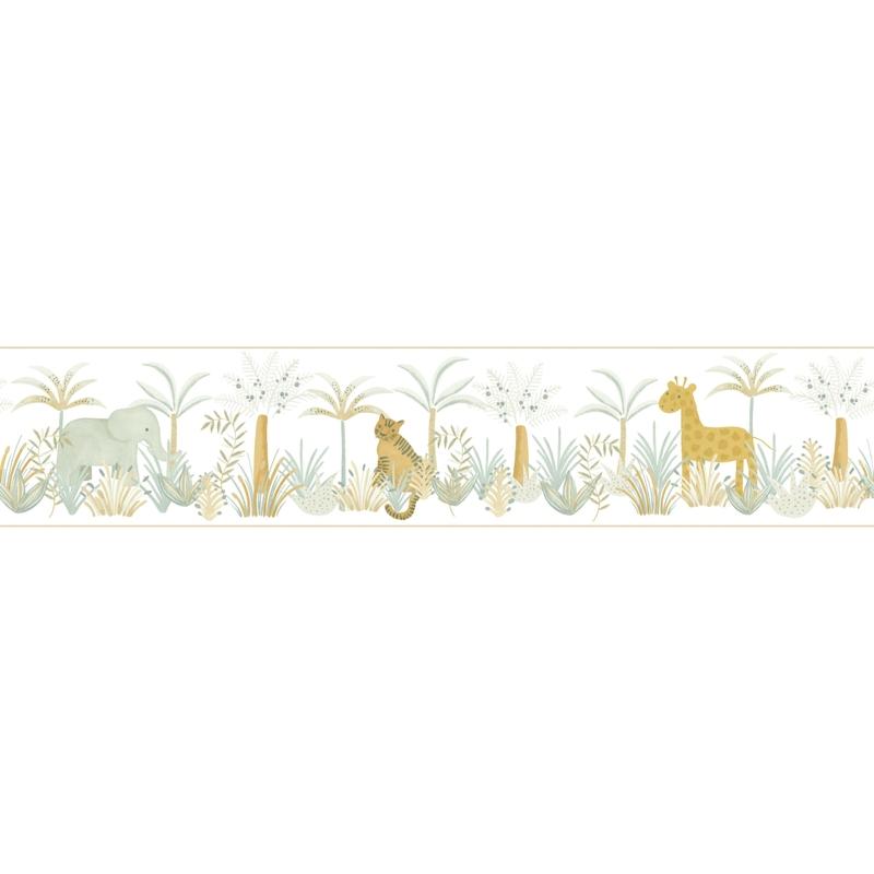 Bordüre 'Rose & Nino' Dschungel beige/ocker