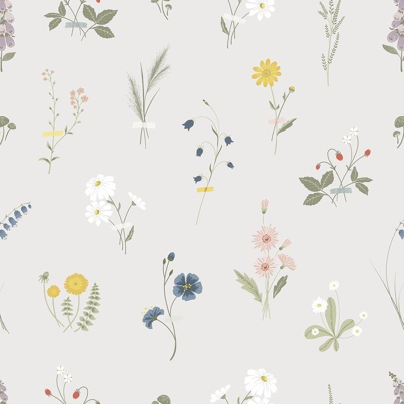 Vliestapete 'Countryside' Blumen grau