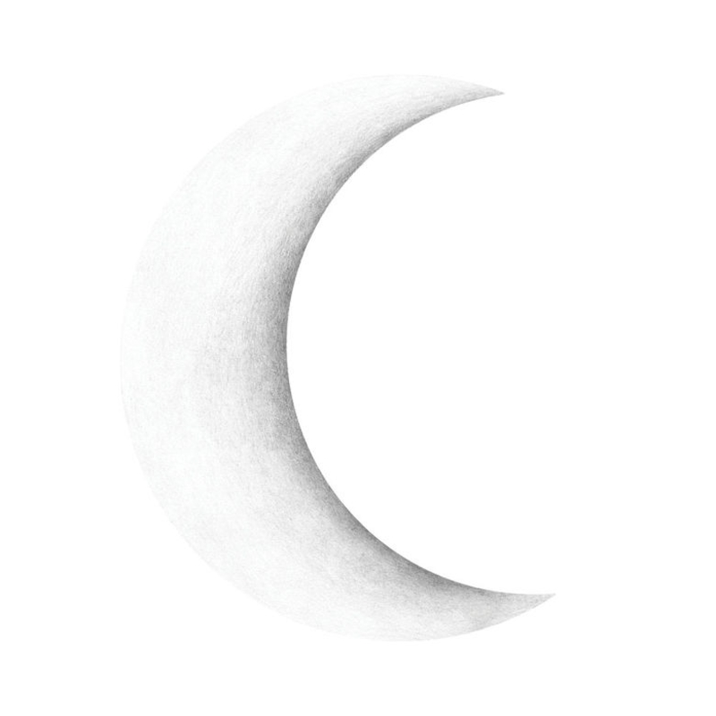 Wandsticker 'Halbmond' weiß handgezeichnet