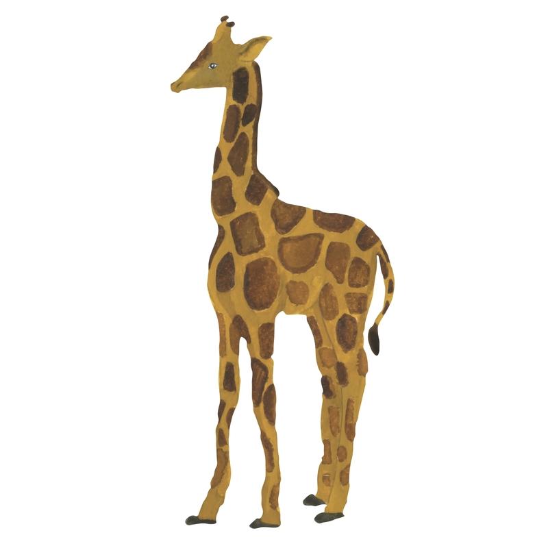Stoff-Wandsticker 'Kleine Giraffe' ocker