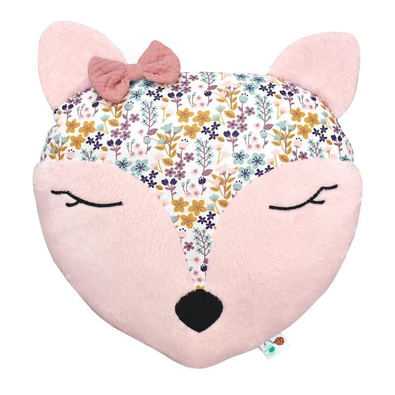 Kissen mit Stickerei 'Blumenreh' puderrosa 35cm