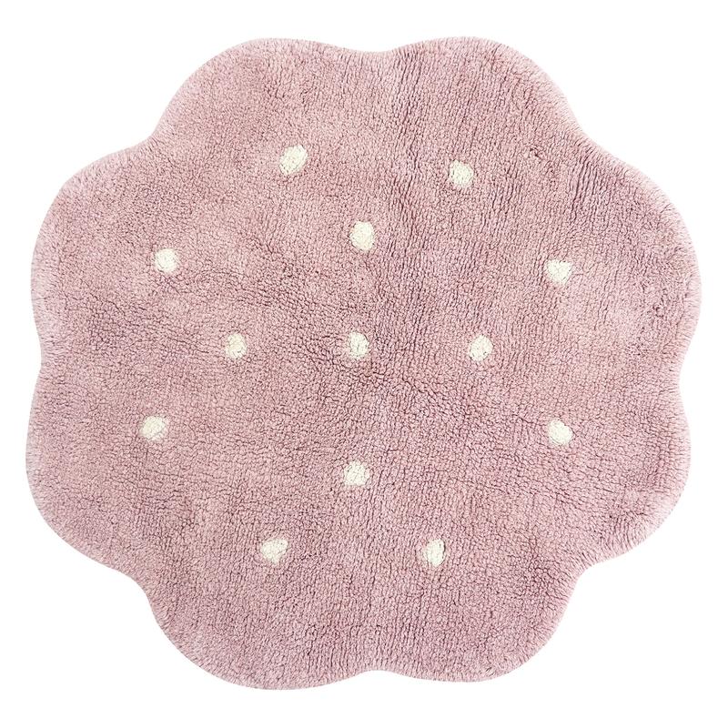 Teppich 'Keks' rund rosa 90cm waschbar