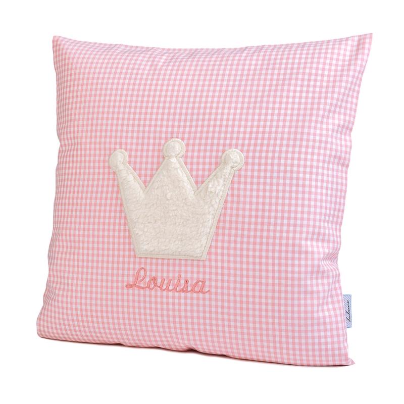 Kissen mit Namen & Krone Vichy rosa 35x35cm