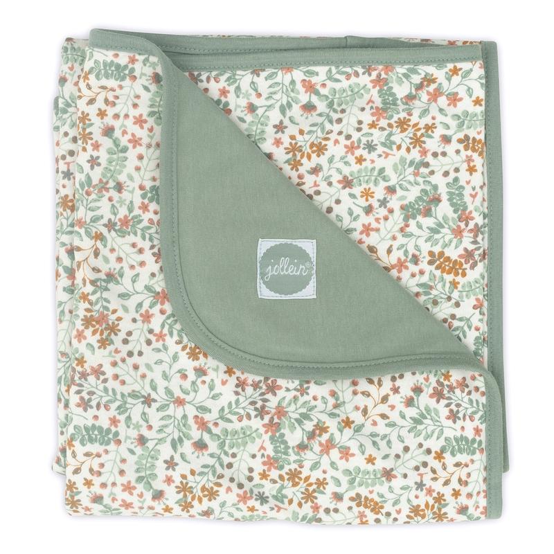 Babydecke 'Bloom' Jersey grün/rost 75x100cm
