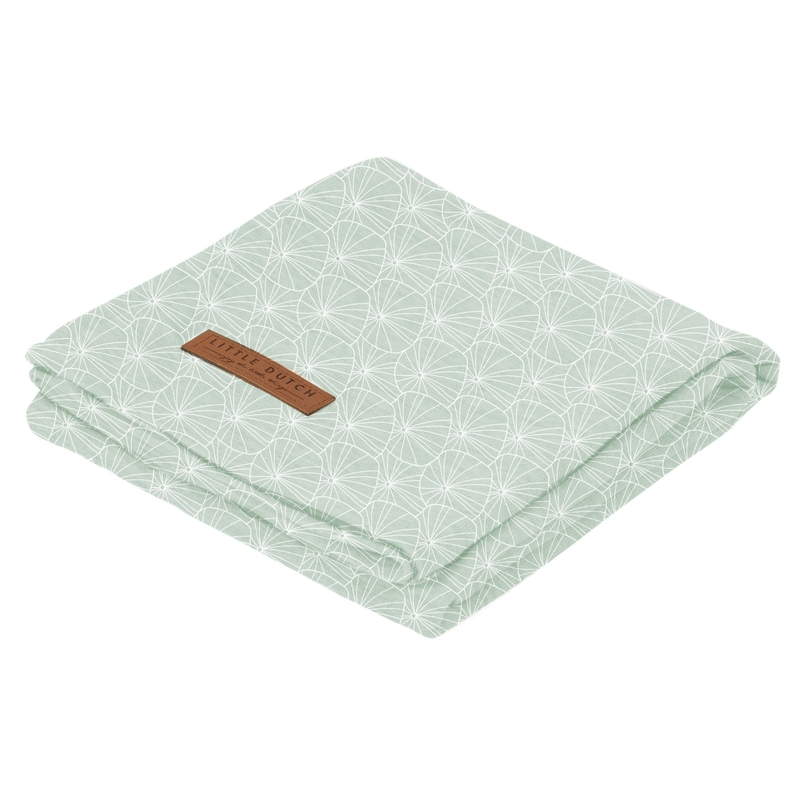 Pucktuch 'Lily Leaves' Jersey mint 120x120cm