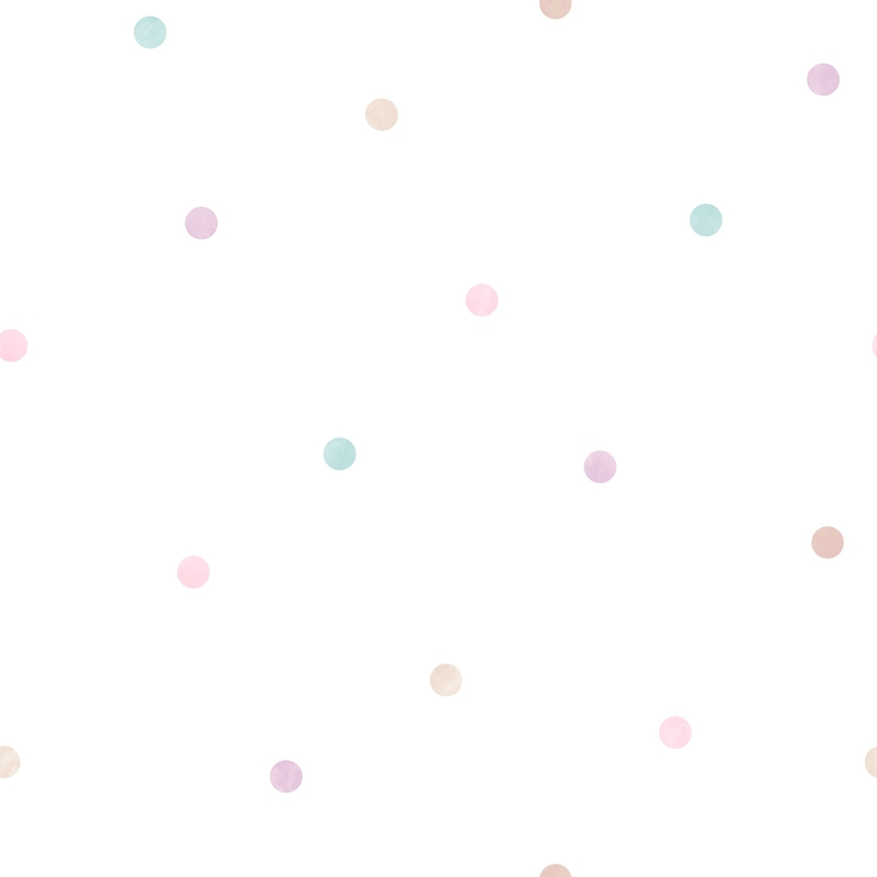 Vliestapete 'Punkte' mint/lila/rosa