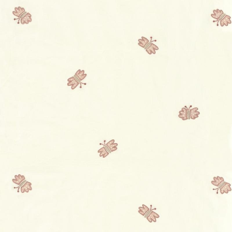 Stoff mit Stickerei 'Schmetterlinge' rosa/creme