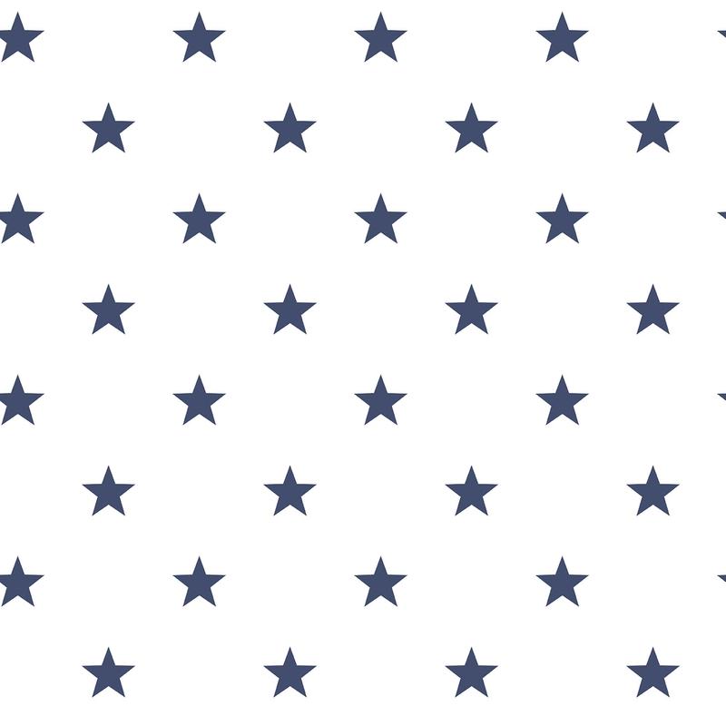 Vliestapete 'Sterne' weiß/marine